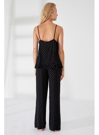 Defacto –Fit Desenli Viskon Uzun Pijama Altı Siyah